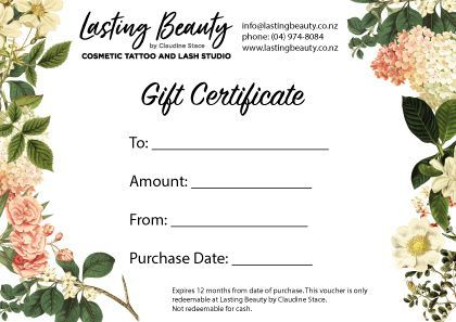 gift certificate 2018 claudine stace permanent makeup cosmetic tattoo lower hutt wellington